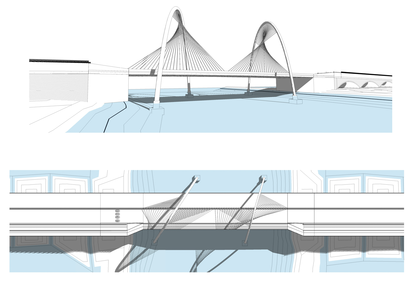 Concept 2: A tied-arch bridge consisting of two unbraced arches, which rest on foundations on both sides of the deck.