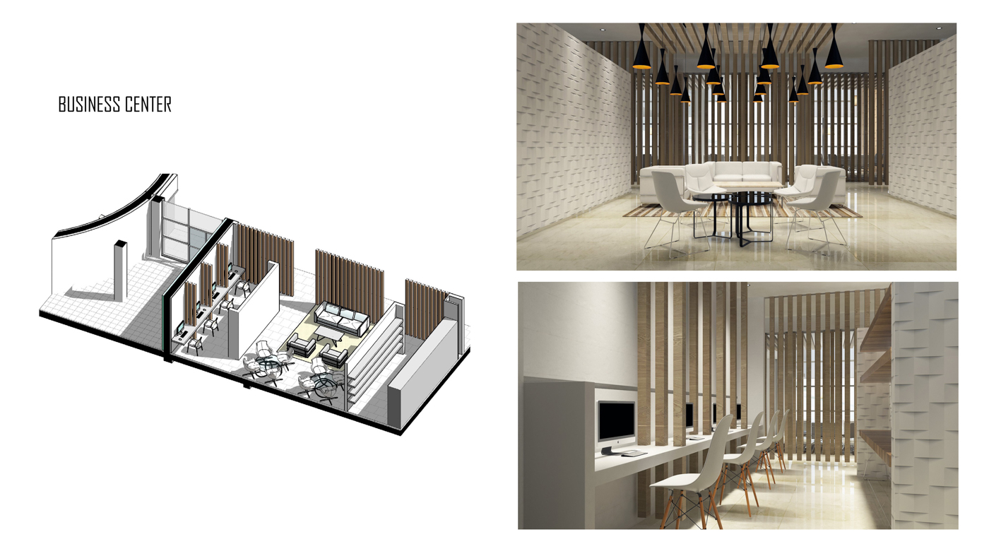 Interior Design for the common areas of the building