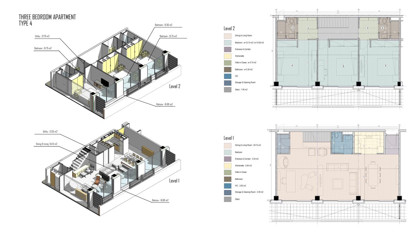 Two-Level three-bedroom apartment