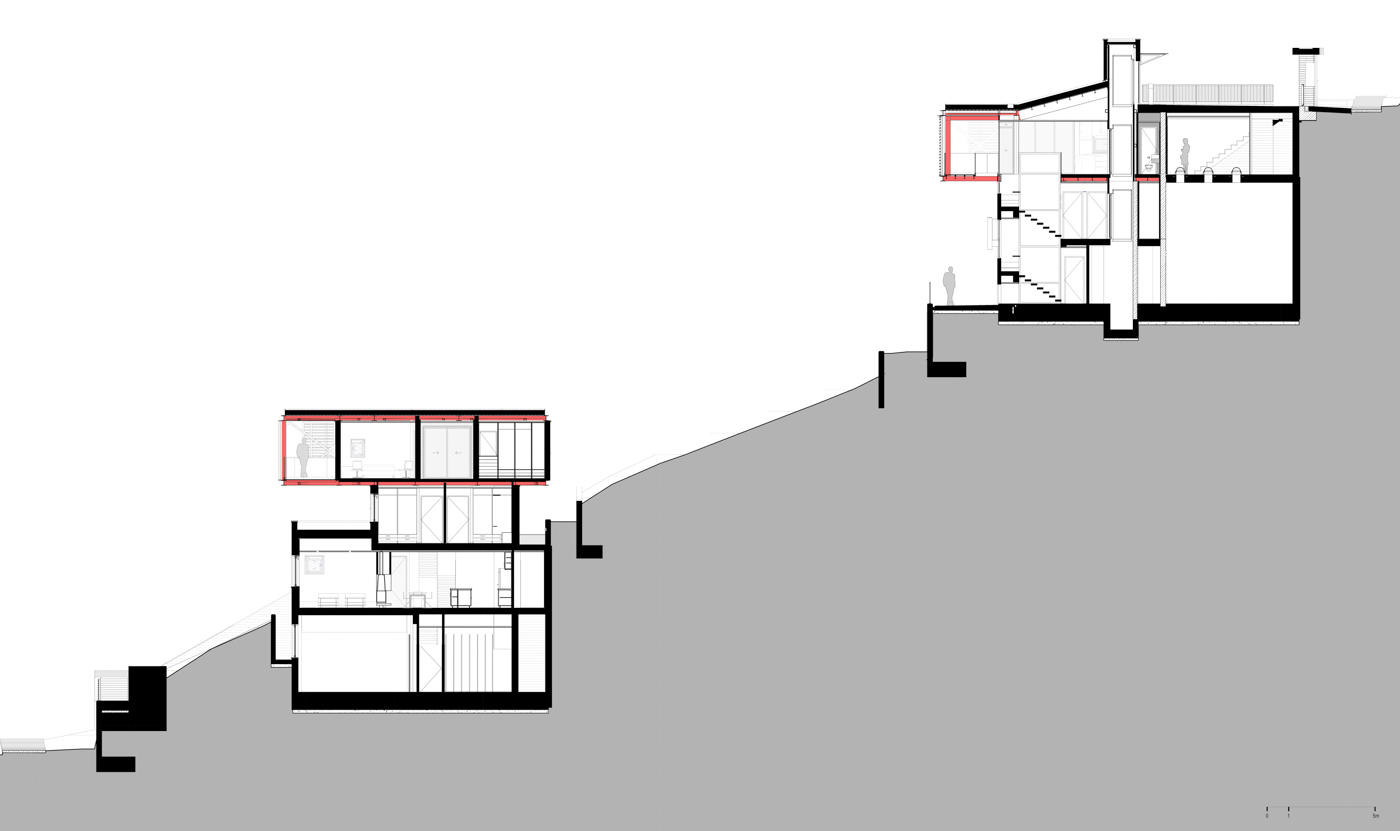 General Section - Residence No1 on the left and No2 on the right