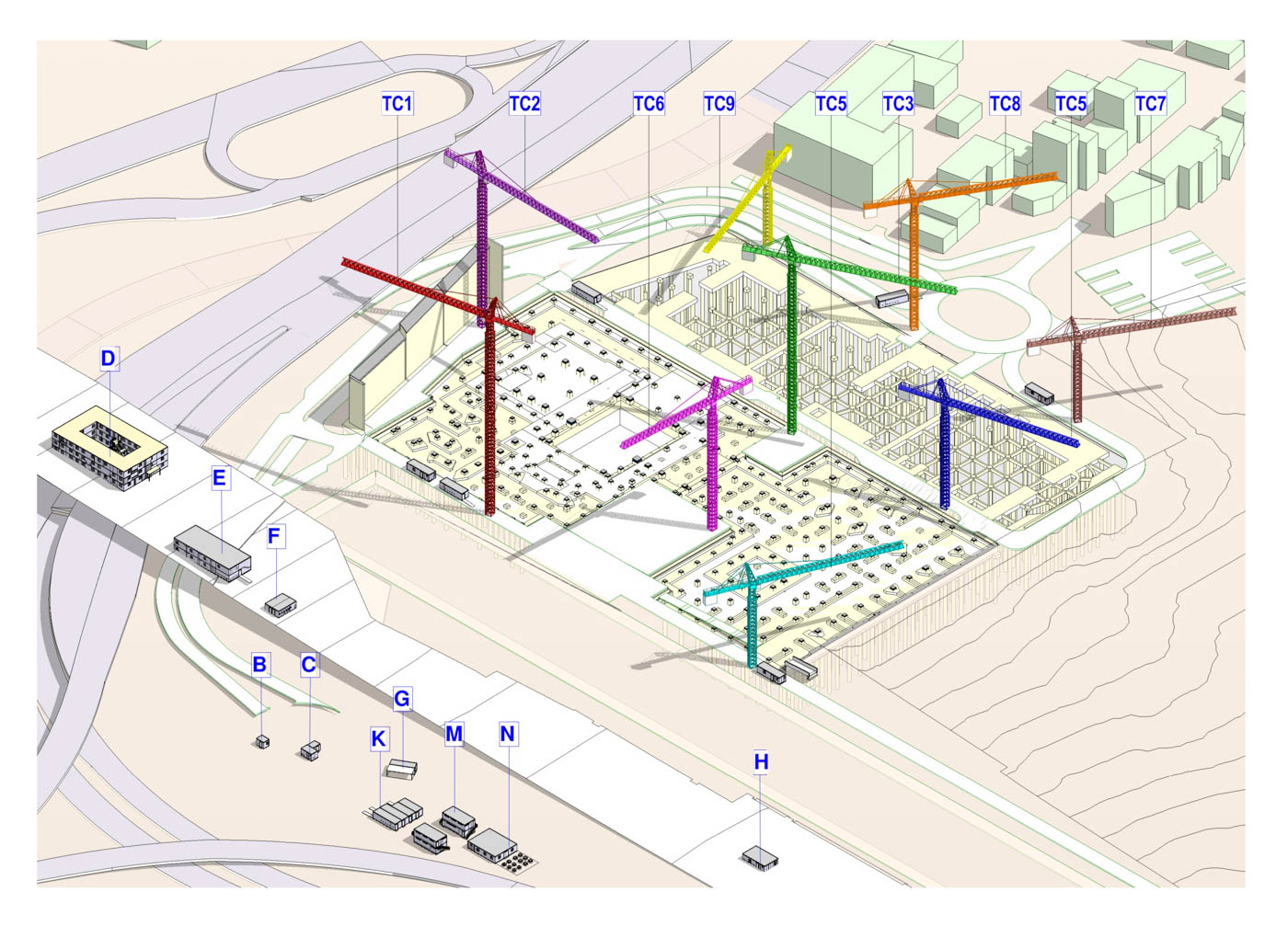 Crane Layout Modeling for the Construction Site of the SNFCC Project / 2012 Arch. Design: Renzo Piano Building Workshop