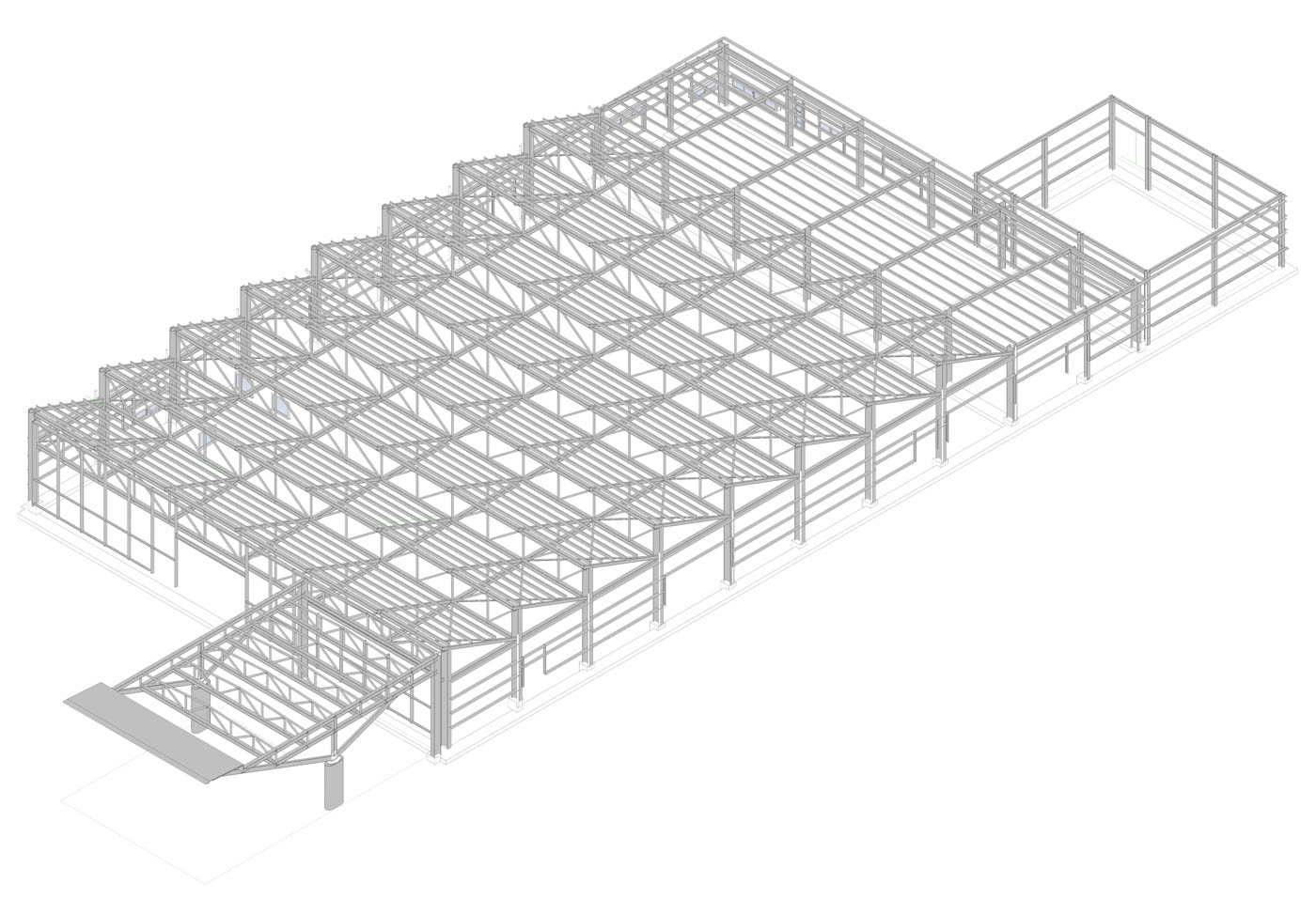 Structural Model for the Transfer Baggage Facility in AIA / 2018 / Arch. Design by EB/Architects