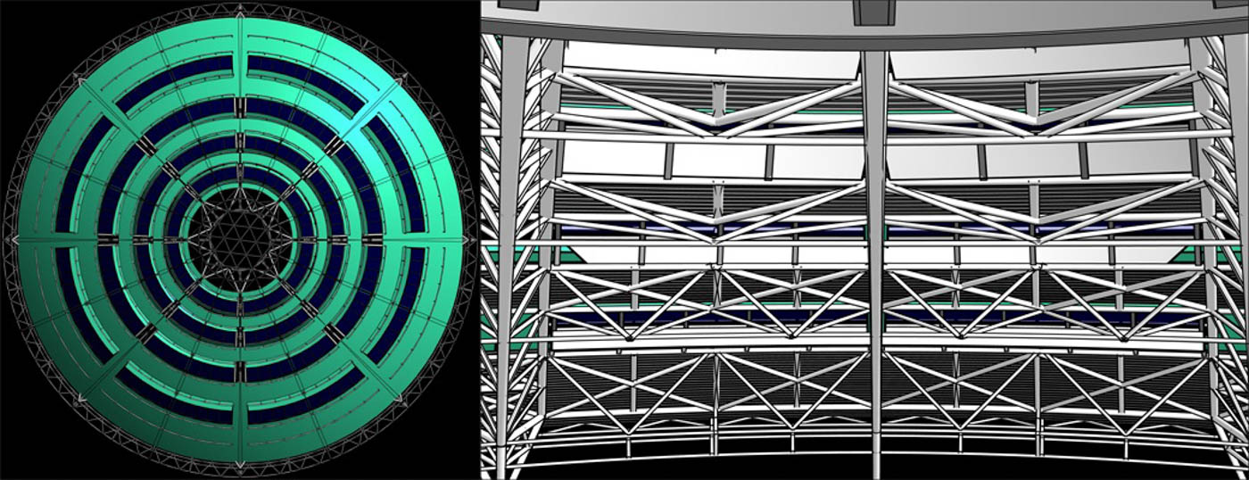Structural Modeling of the Nicosia Library Roof / 2011 / Arch. Design: J.Nouvel