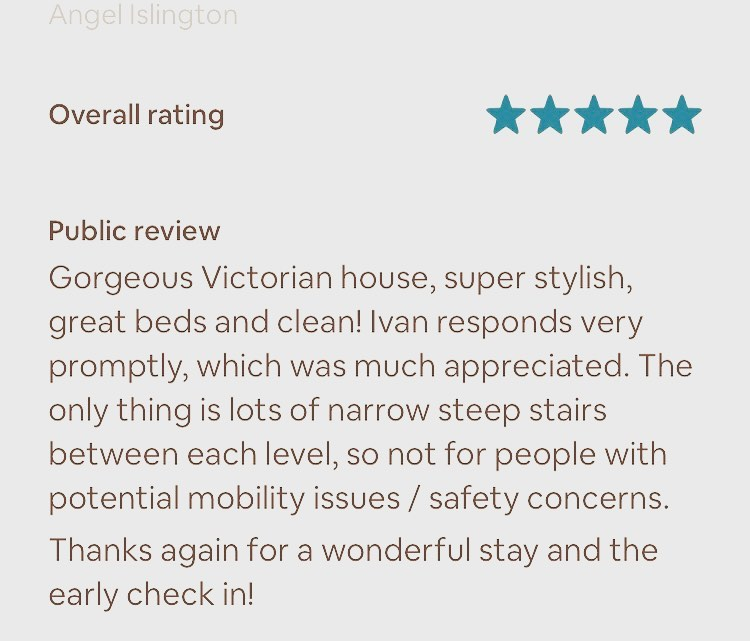 Another amazing review! Thanks #airbnb #booking #london @stayinlondon.co.uk