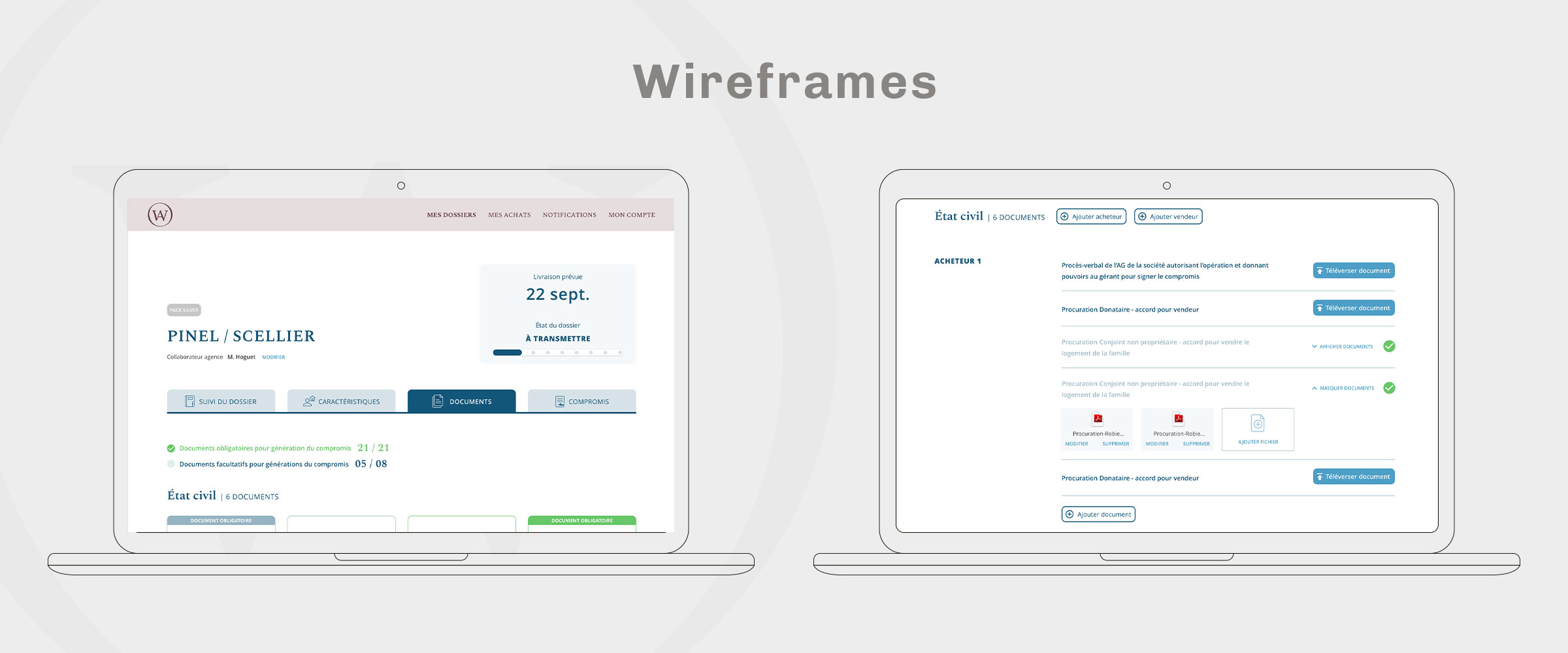 We Act  wireframes design