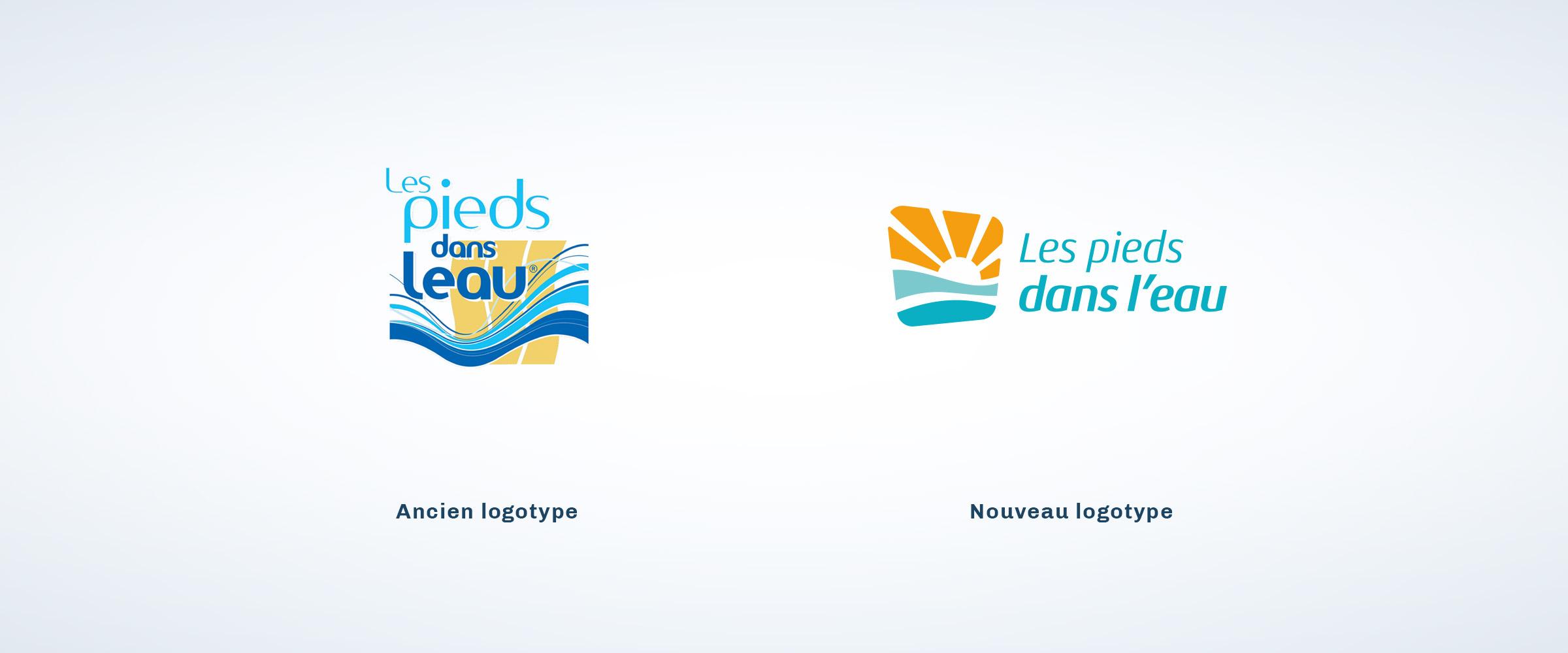 Les pieds dans l'eau ancien logotype nouveau logotype