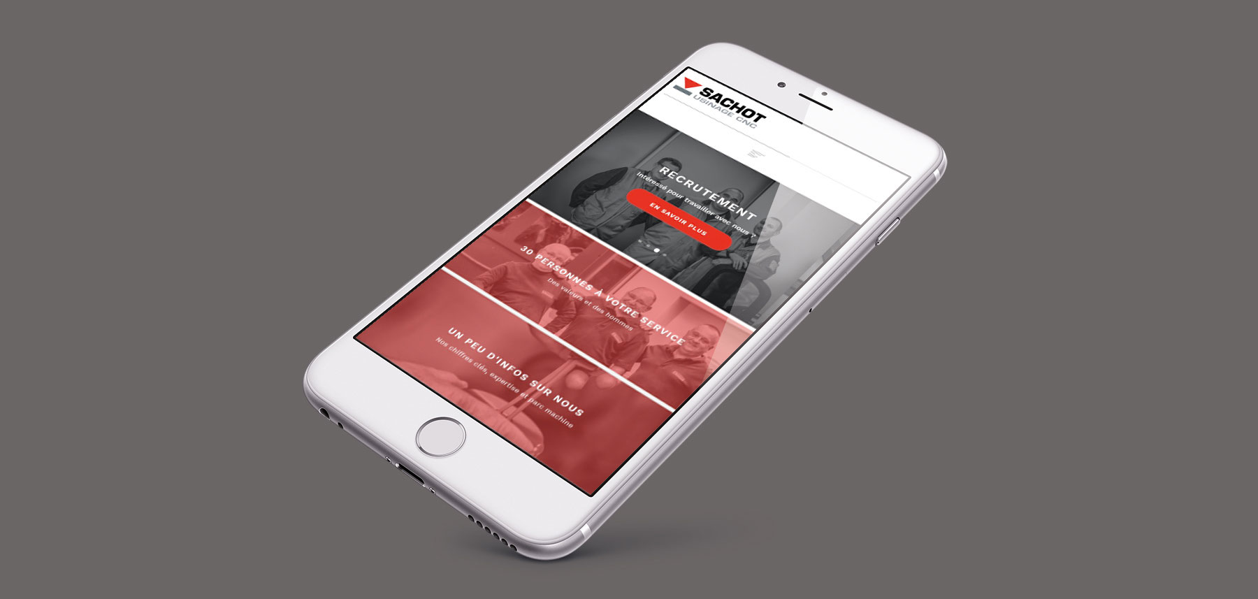 Sachot responsive design interface smartphone