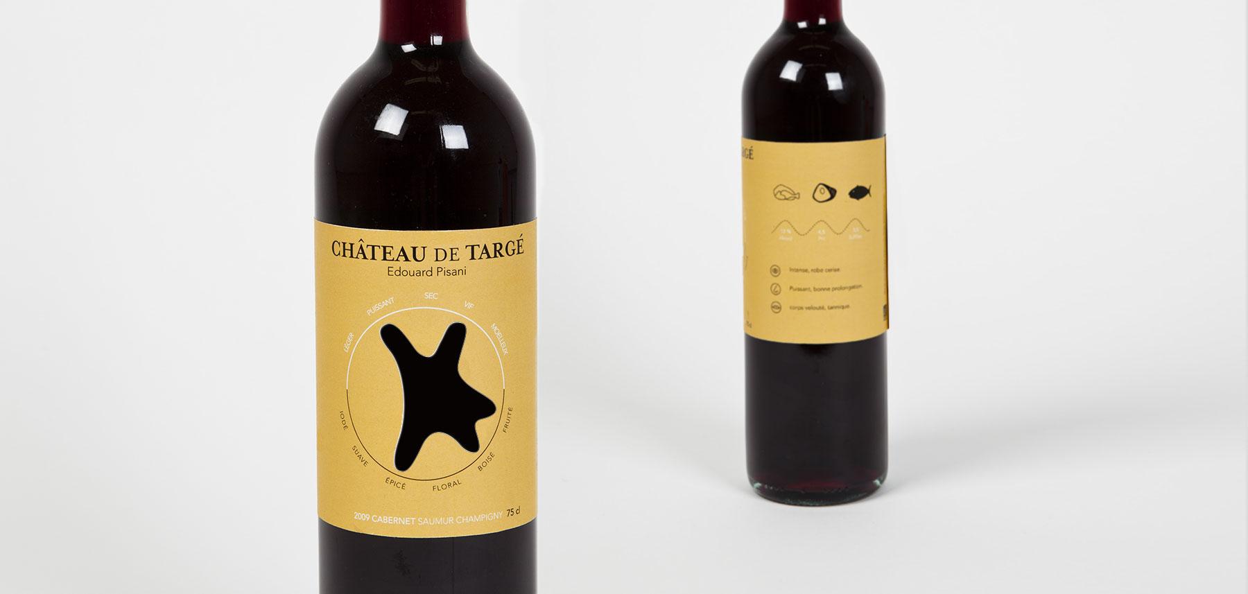 Domaines qui montent bouteille vin rouge étiquette design