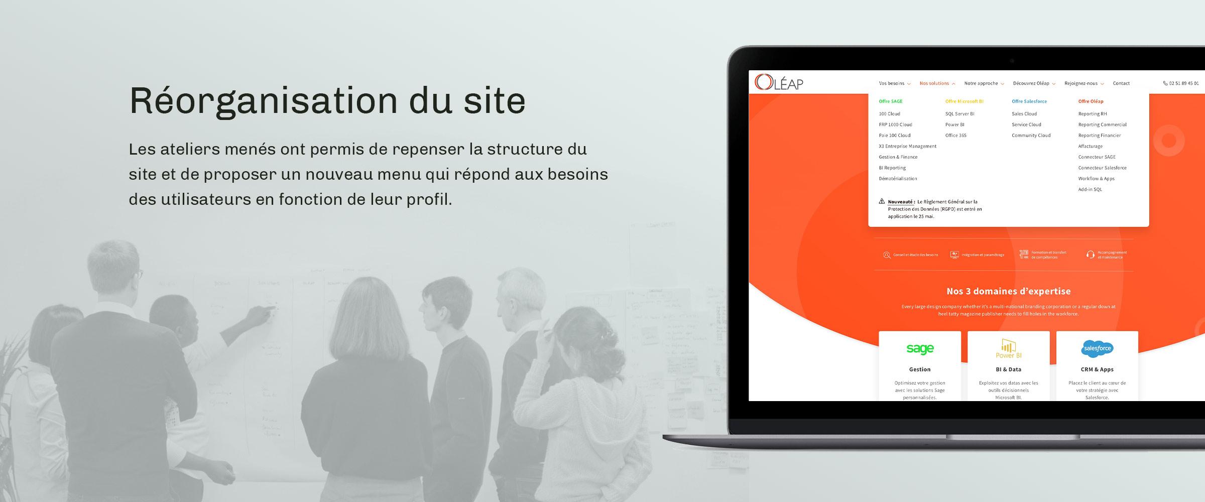 oleap réorganisation site web