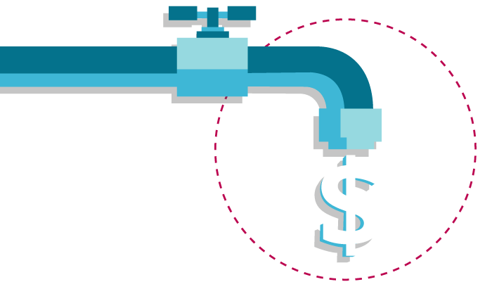 Faucet illustration with a dollar sign dripping out of the spout