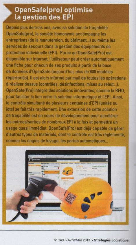 OpenSafe(pro) optimise la gestion des EPI - Stratégie et Solution