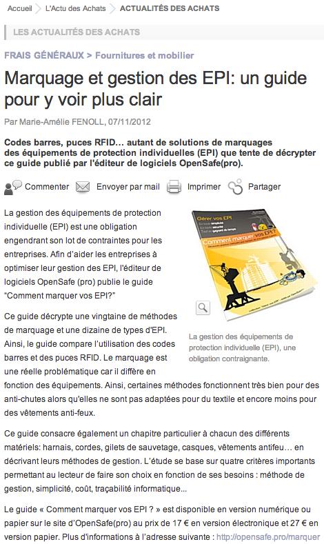 """Décision-Achats.fr annonce la sortie du guide """"Comment marquer vos EPI ?"""""""