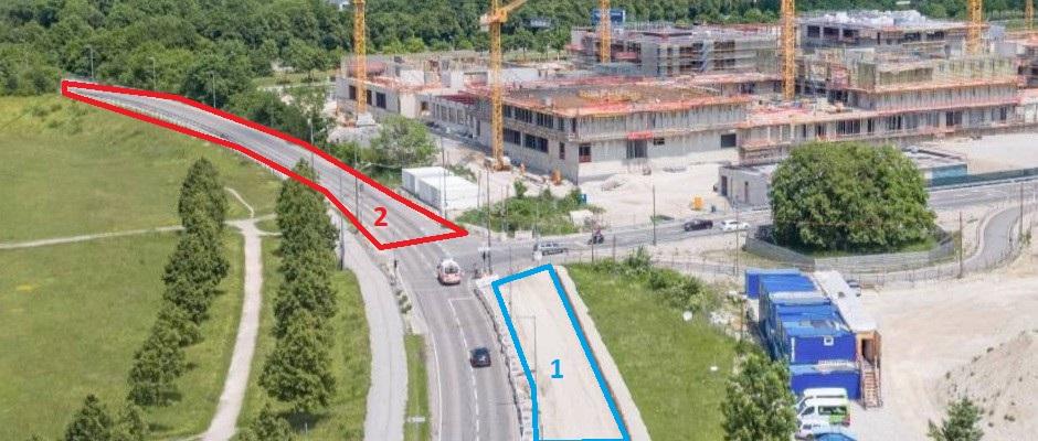 Straßenbauarbeiten Bildungscampus Riem