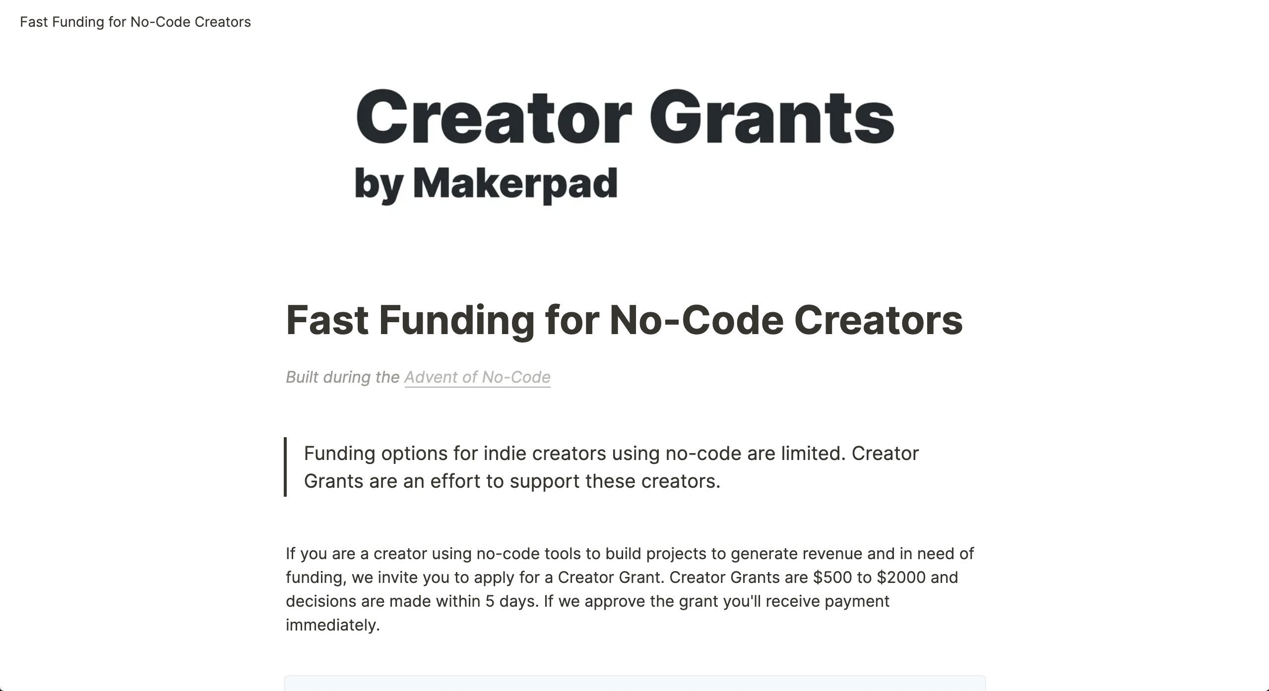 Creator Grants