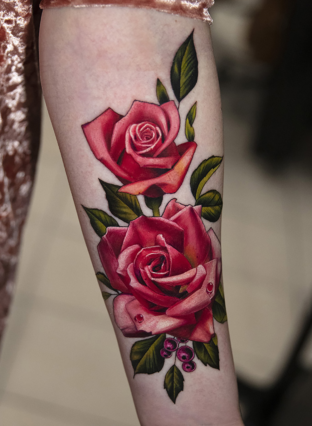 two roses tattoo by Mikhail Andersson
