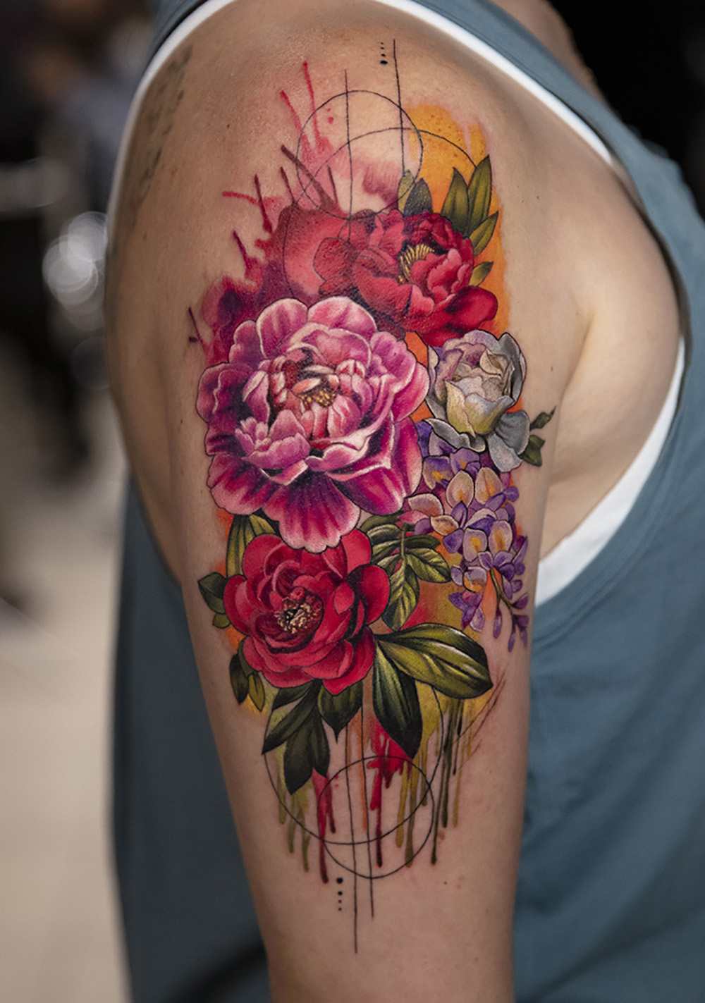 bouquet flowers tattoo by Mikhail Andersson