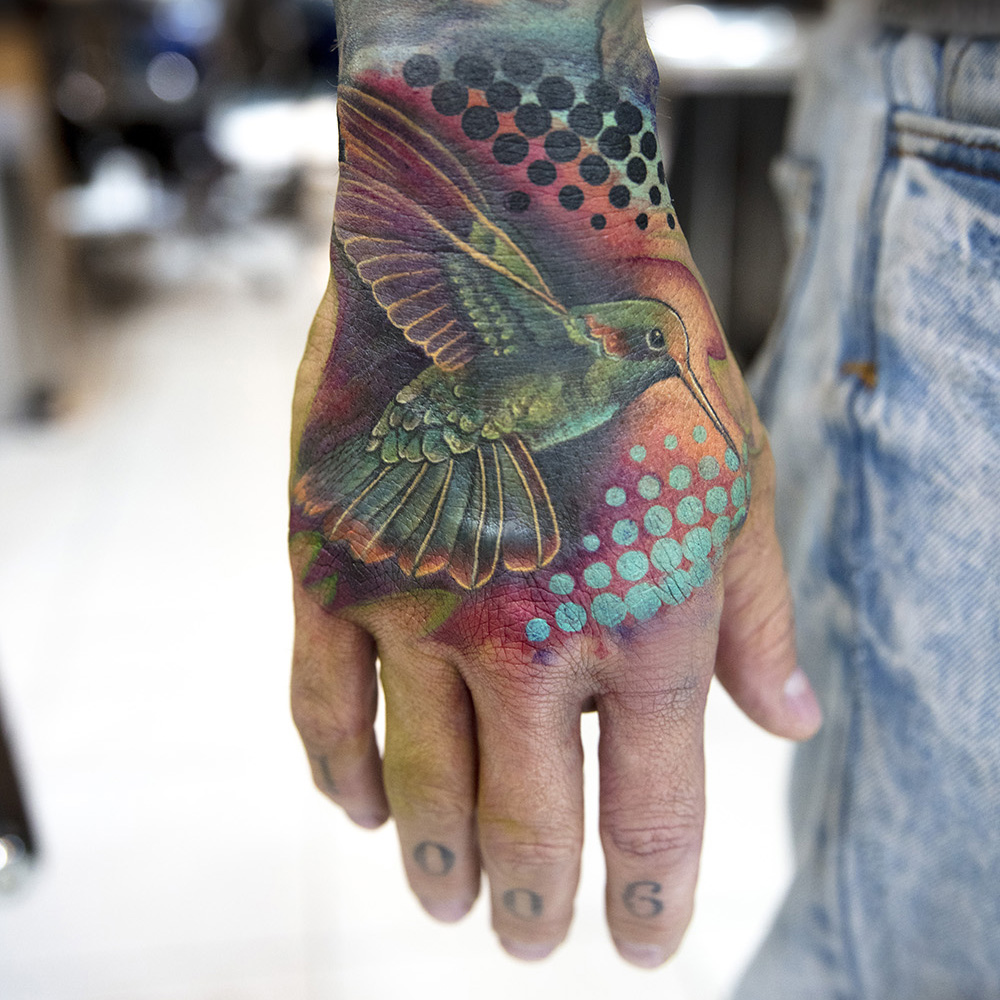 hummingbird tattoo by Mikhail Andersson