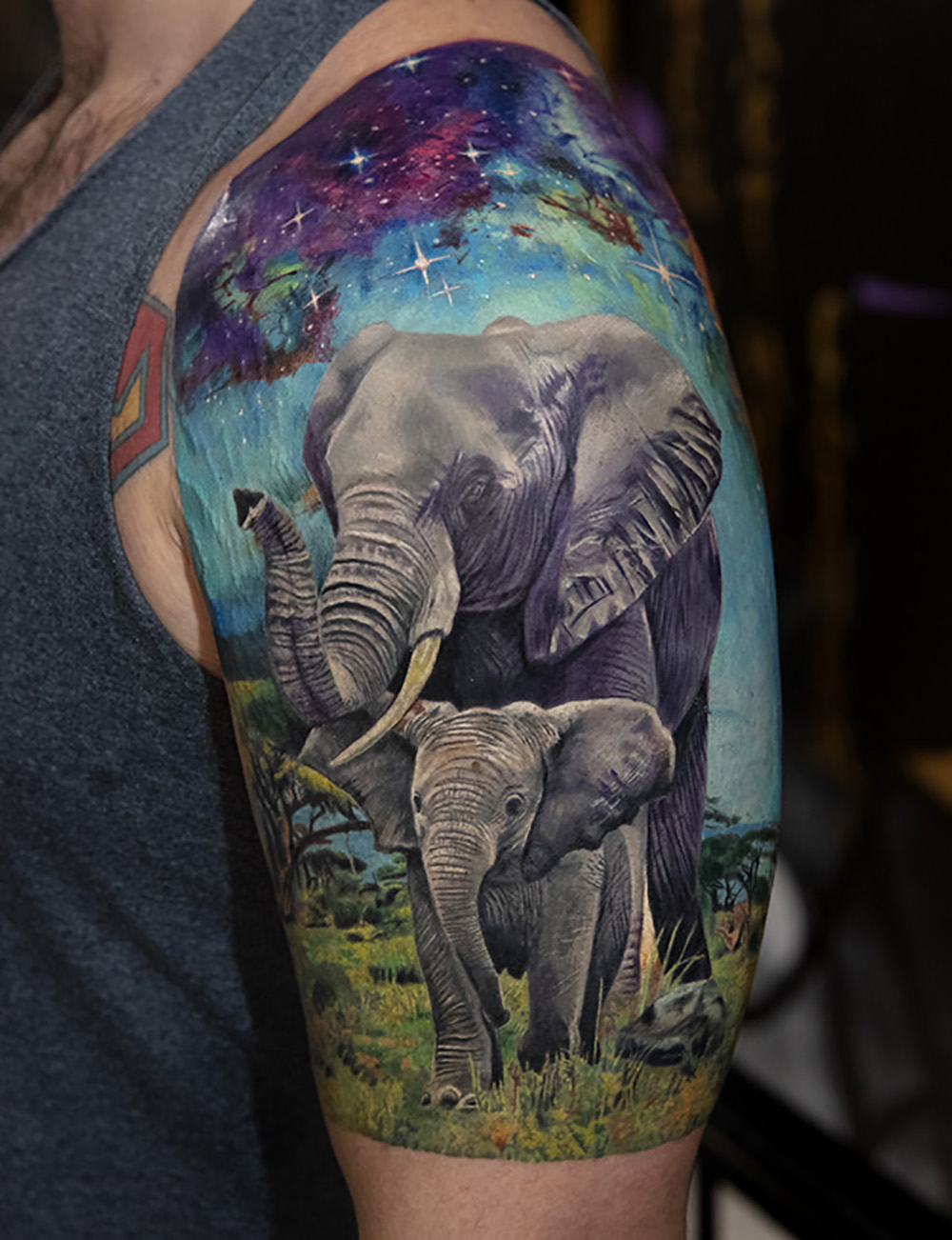 elephant tattoo by Mikhail Andersson