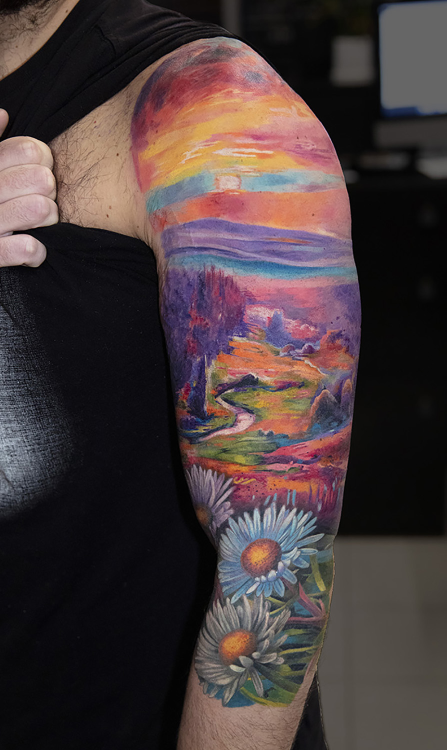vivid watercolor tattoo by Mikhail Andersson