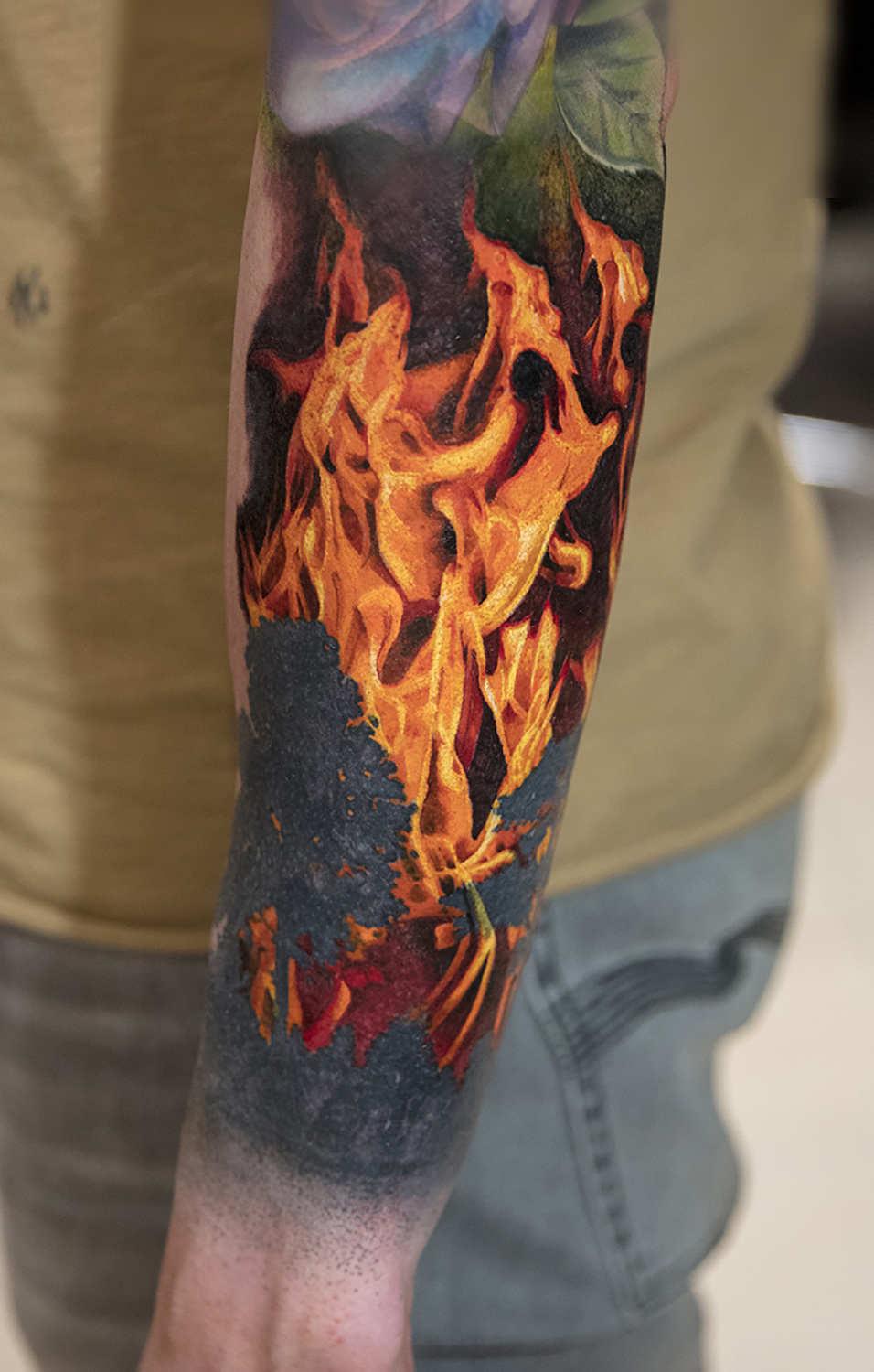 flames tattoo by Mikhail Andersson