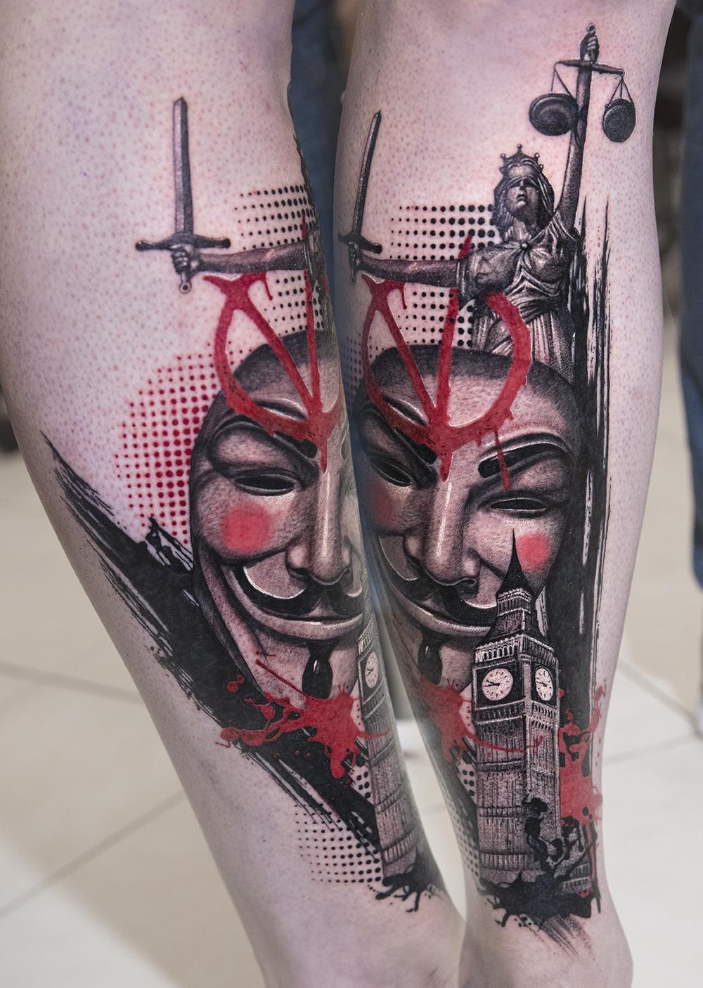 v for vendetta trash polka tattoo by Mikhail Andersson