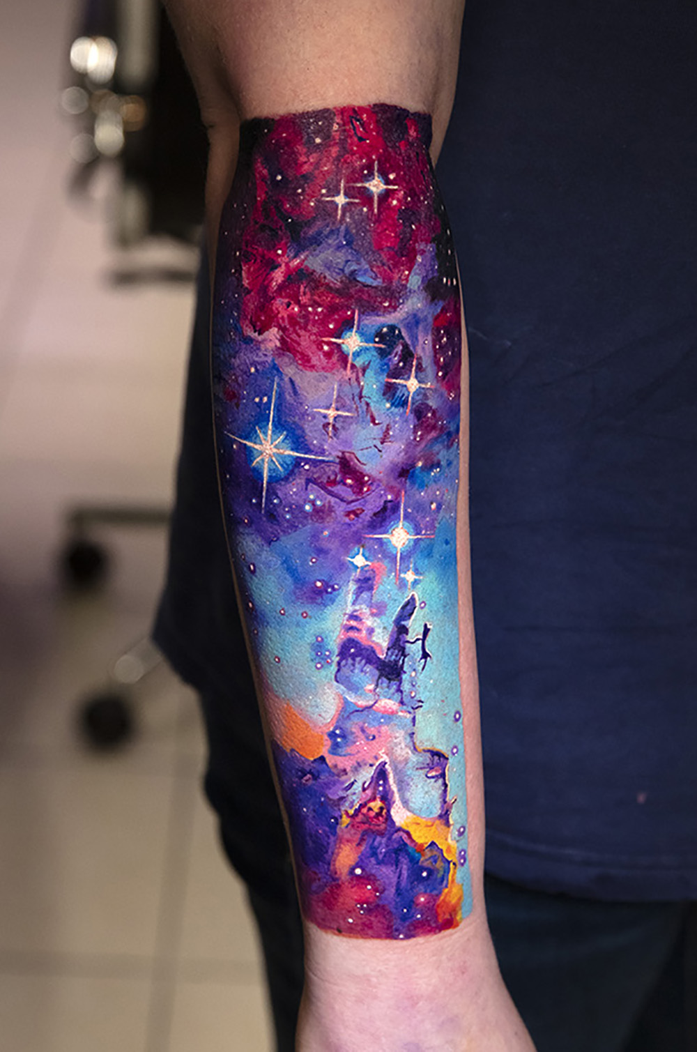 space nebula galaxy tattoo by Mikhail Andersson