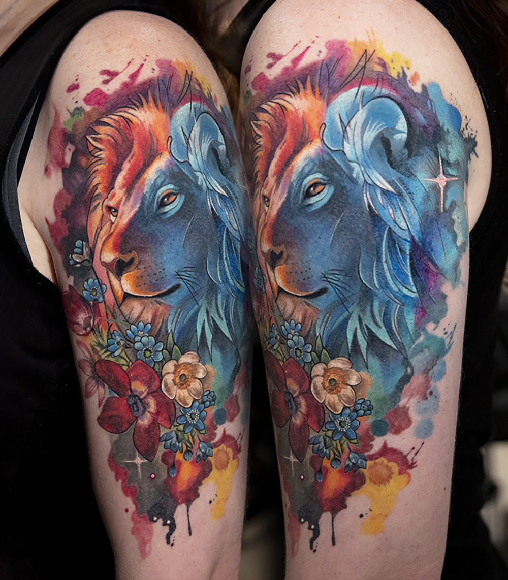 lion tattoo by Mikhail Andersson