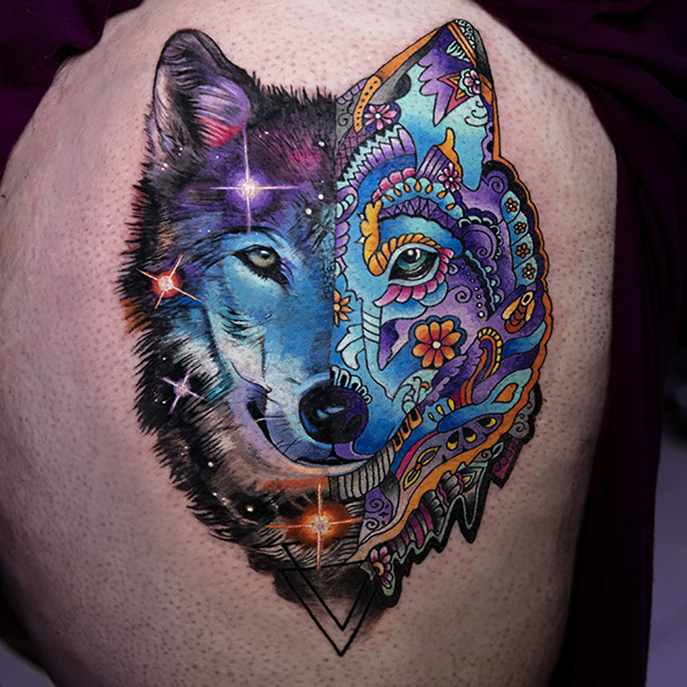 Psychedelic star wolf tattoo by Mikhail Andersson