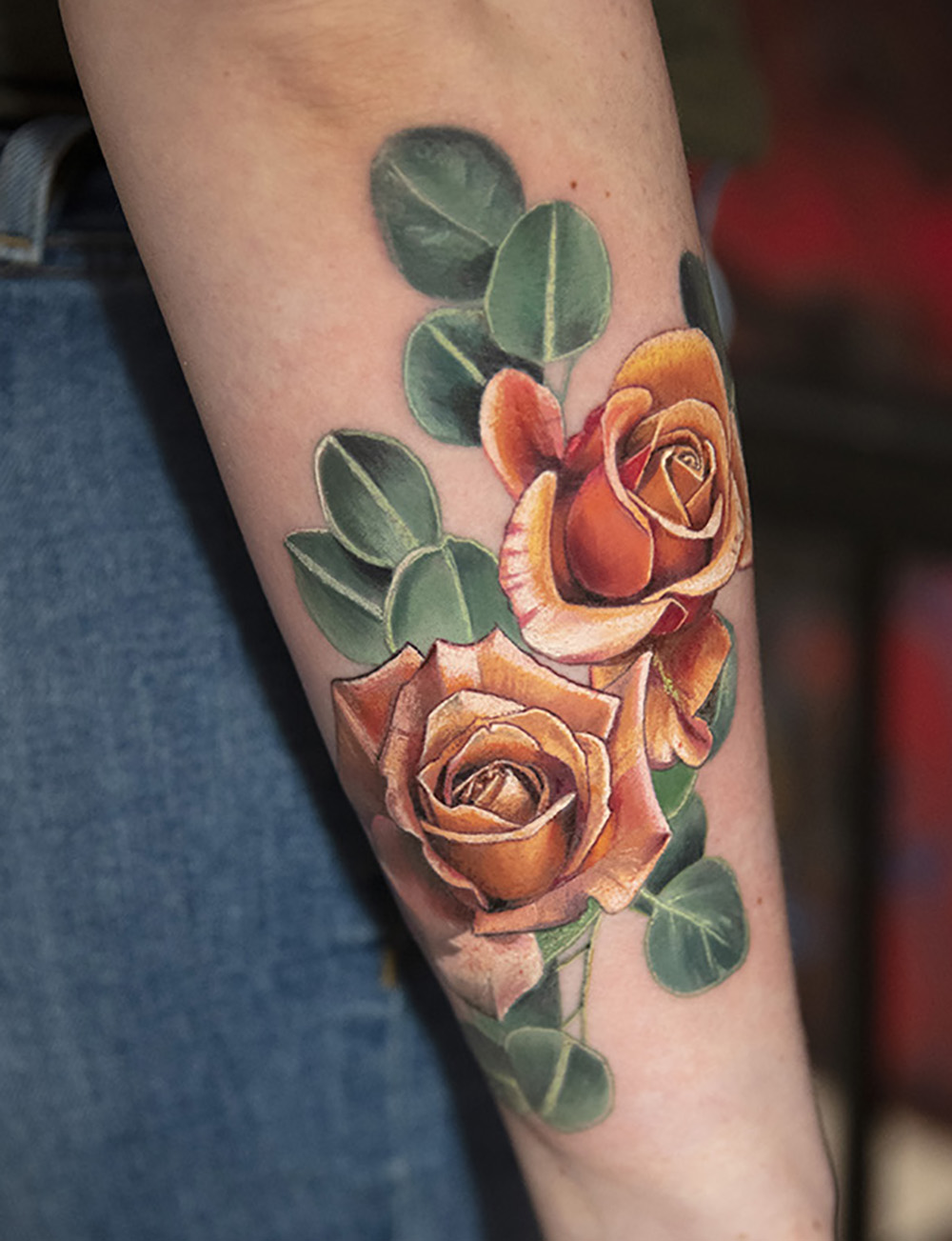 orange roses tattoo by Mikhail Andersson