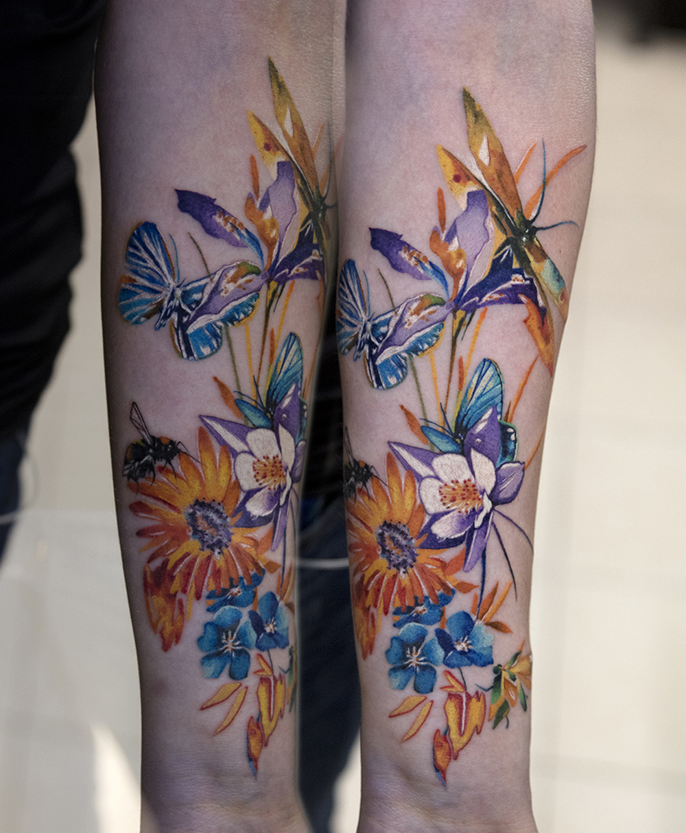 butterfly and flowers tattoo by Mikhail Andersson