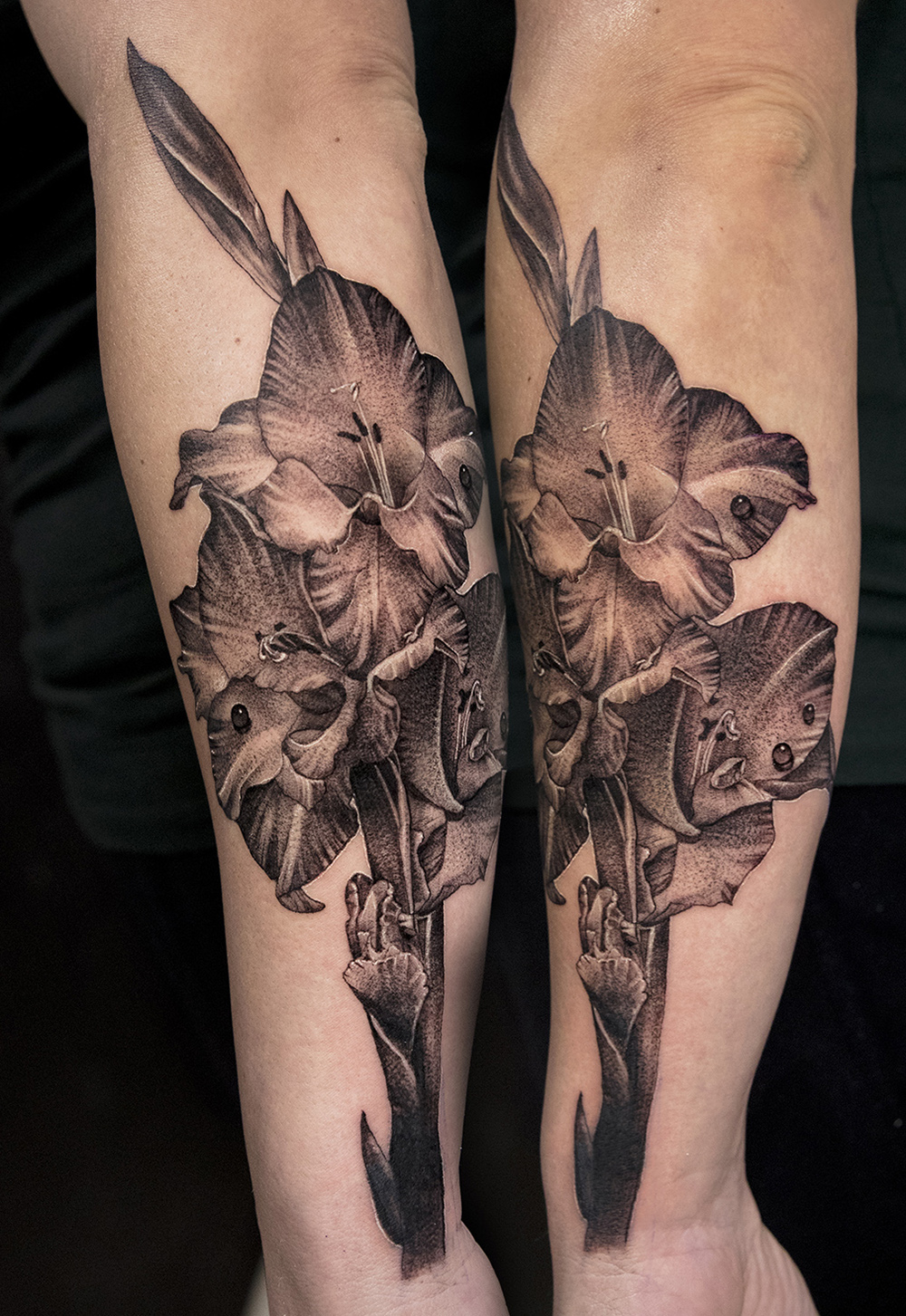gladiolus tattoo by Mikhail Andersson