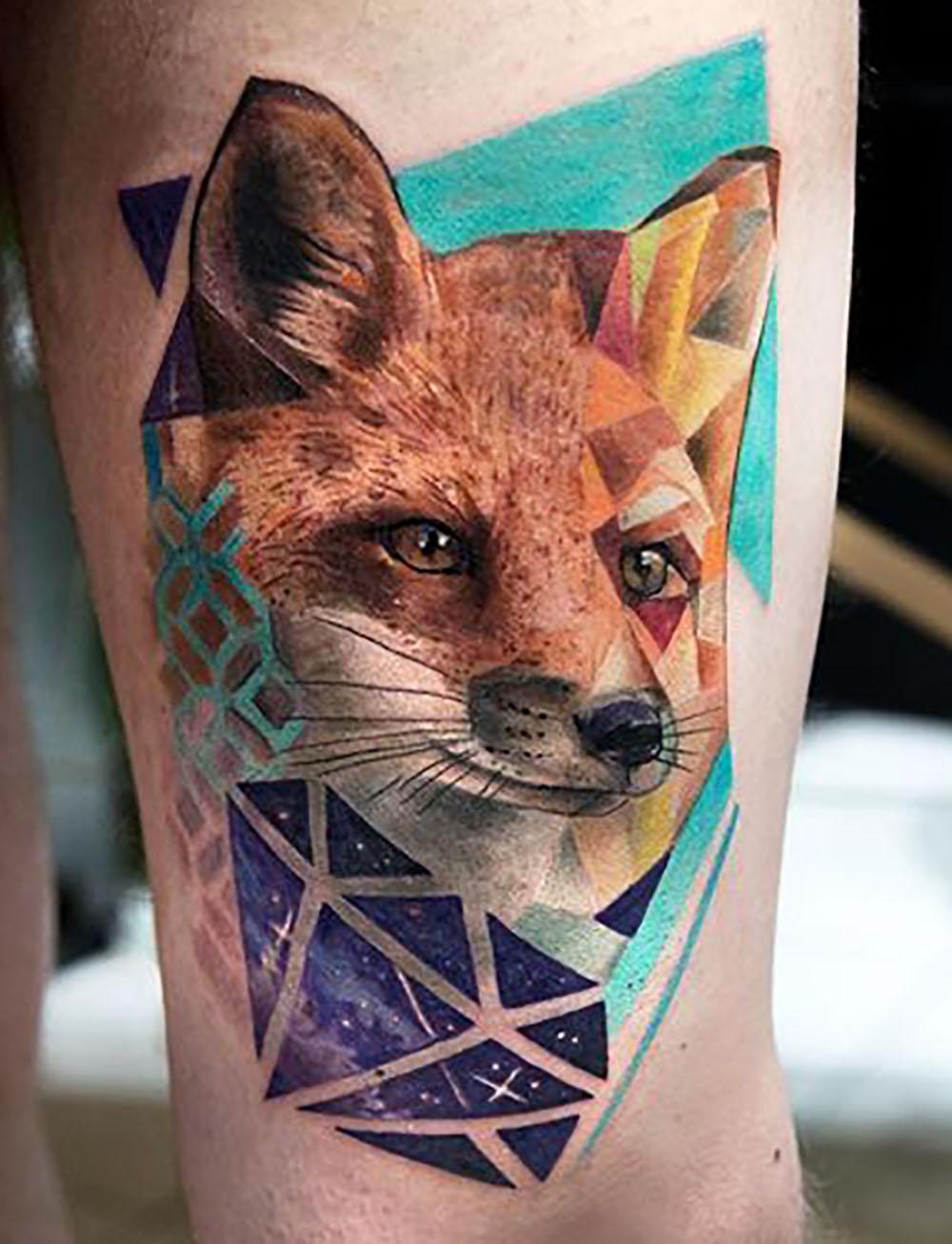 geometric fox tattoo by Mikhail Andersson