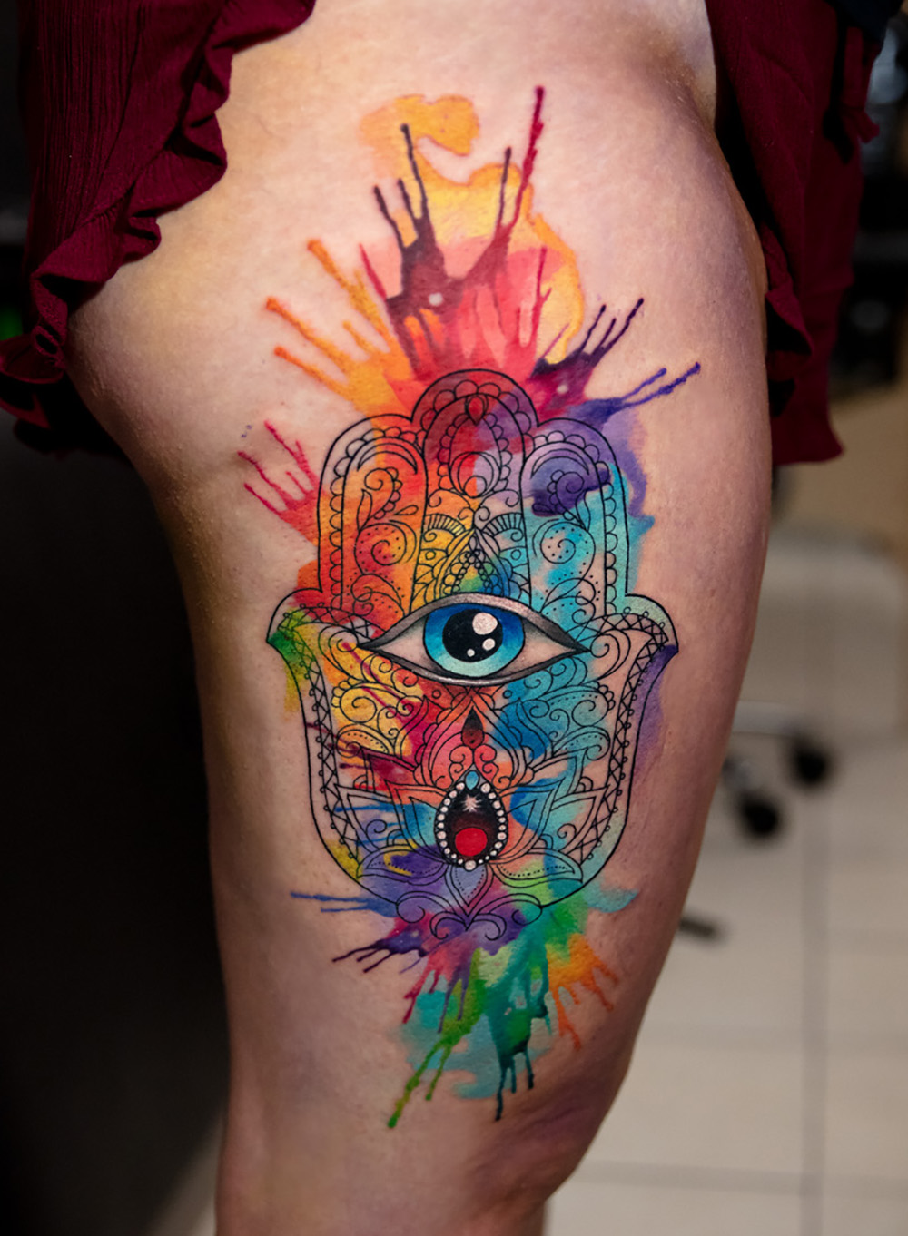 watercolor hamsa tattoo by Mikhail Andersson