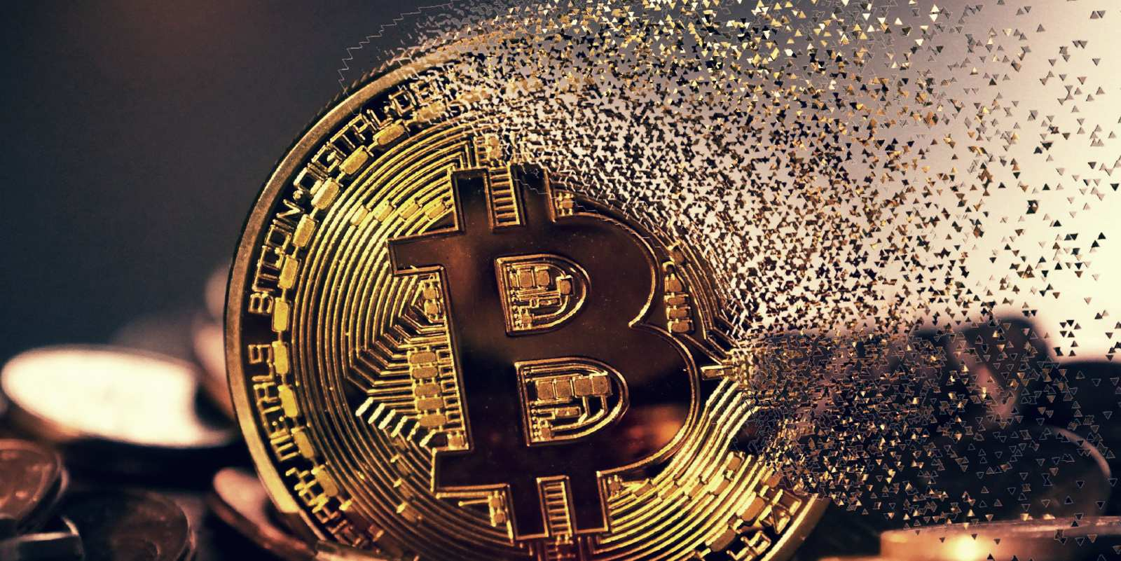 A Bitcoin being disintegrated.