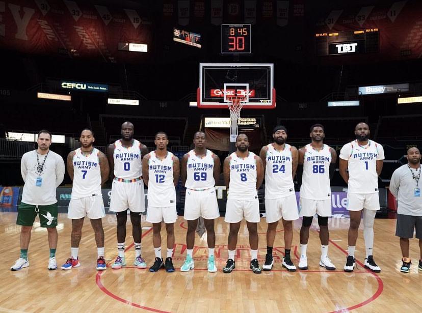 Members of basketball team Team Autism Army