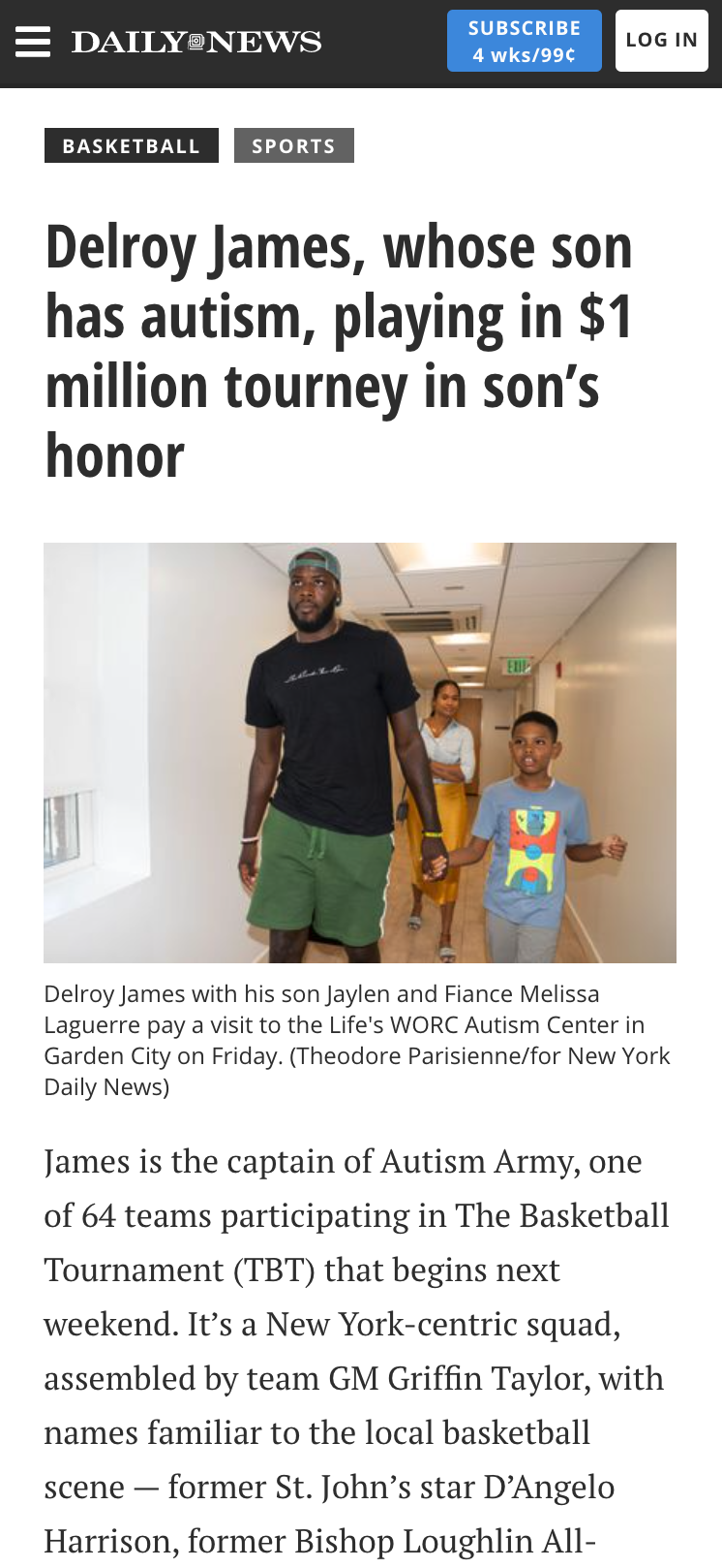 Screenshot of the Daily News article on Delroy James and Team Autism Army