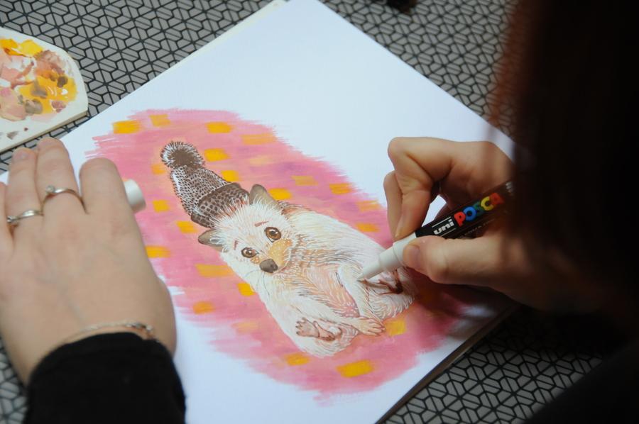 Peinture à la gouache et au posca