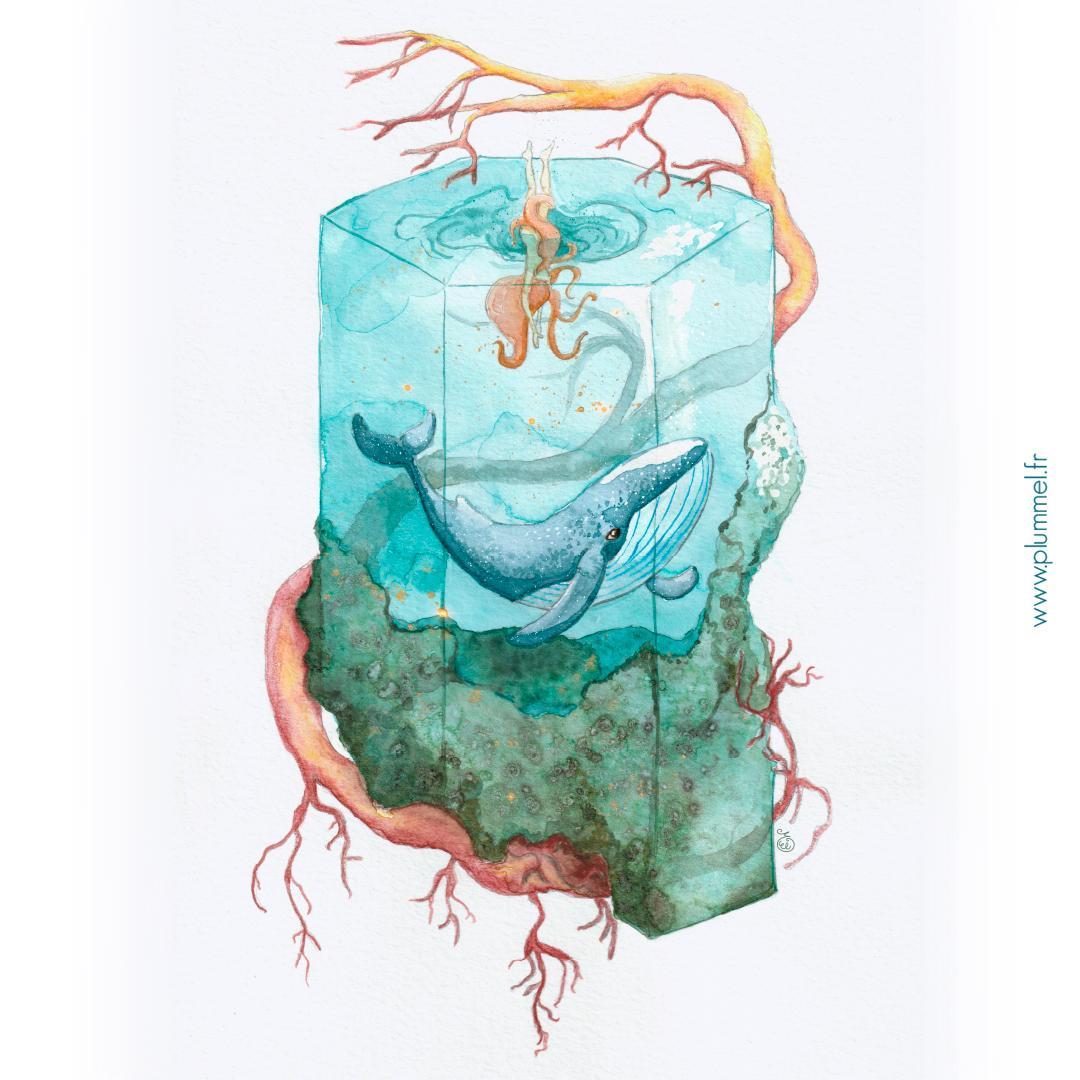 Aquarelle et gouache avec retouches numériques