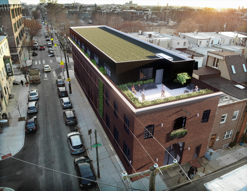 Exterior View of Existing Masonry Facade with Addition Above Roof Deck and Green Roof #livingcityarch