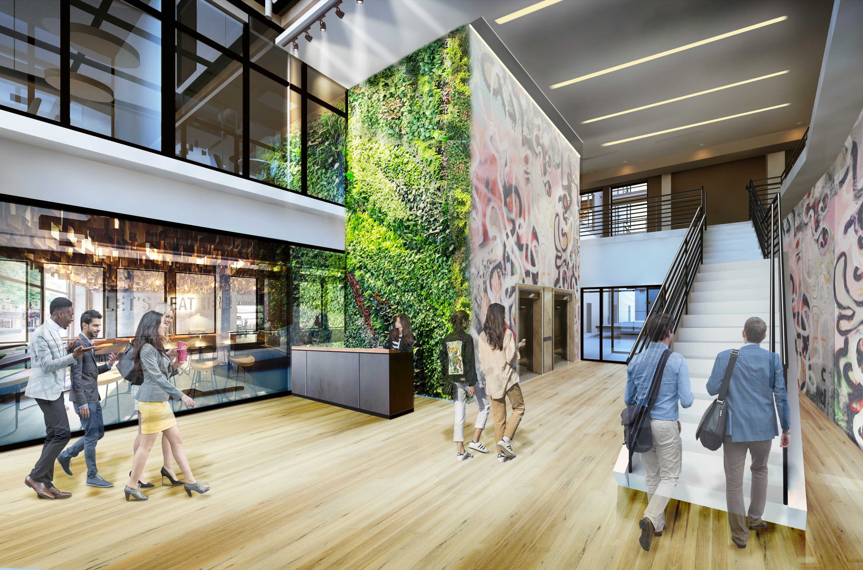 Residential and Tech Center Lobby with Green wall Philadelphia #livingcityarch