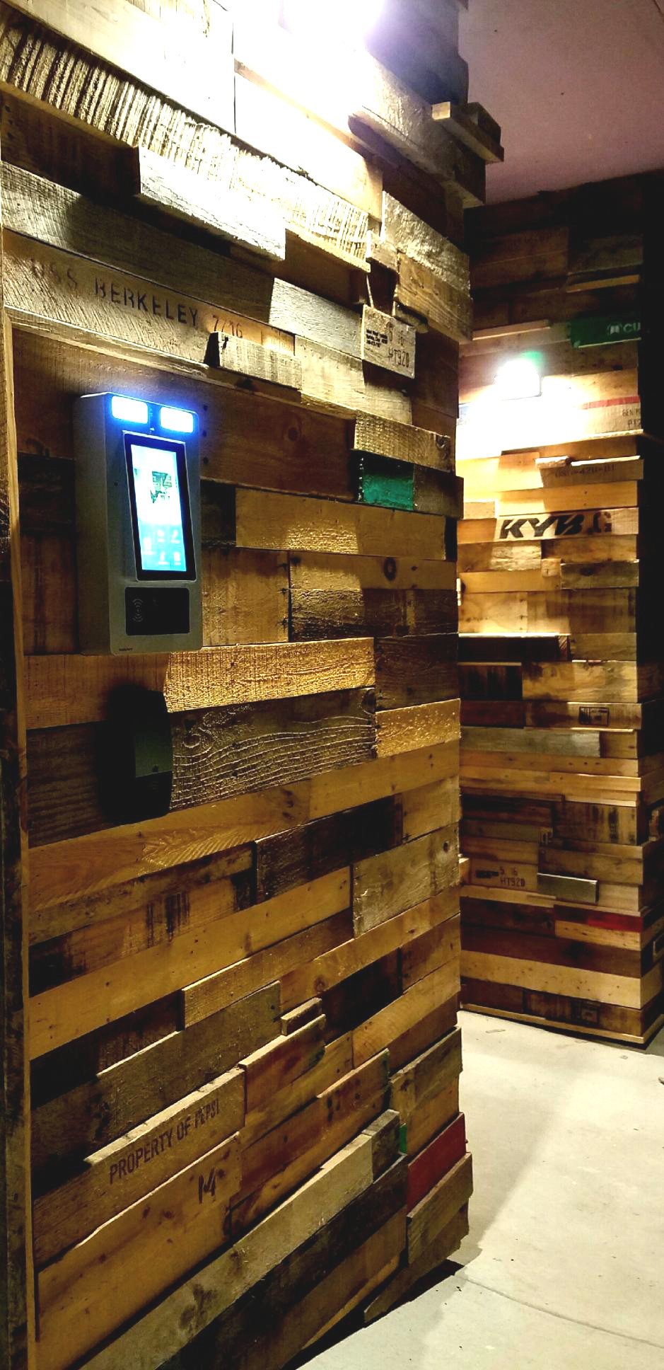 Reclaimed Pallet Entry Wall with Building Access Control System FUSA Designs #livingcityarch