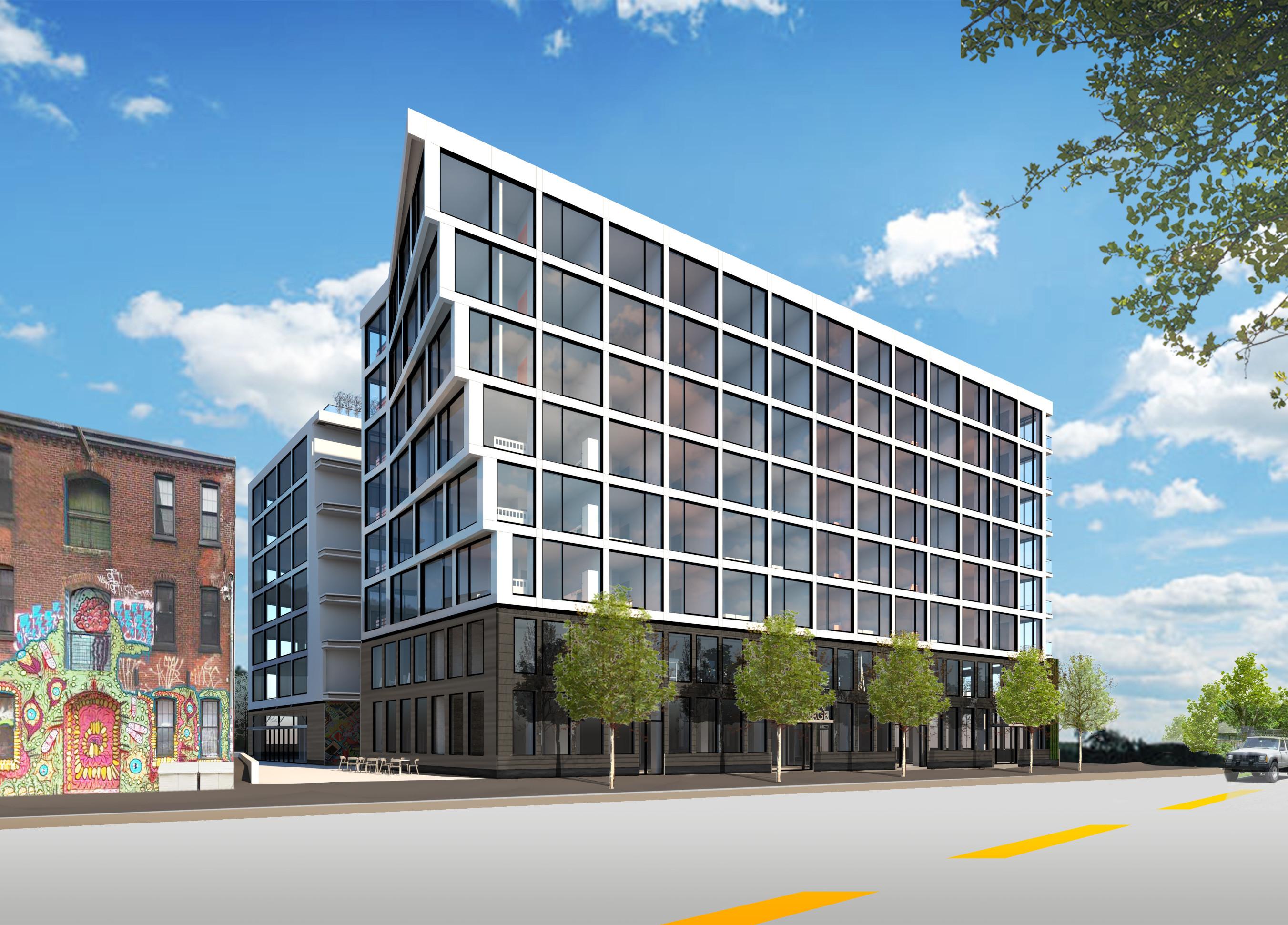 Tech Center Residential above Retail Cantilever Glass Philadelphia #livingcityarch