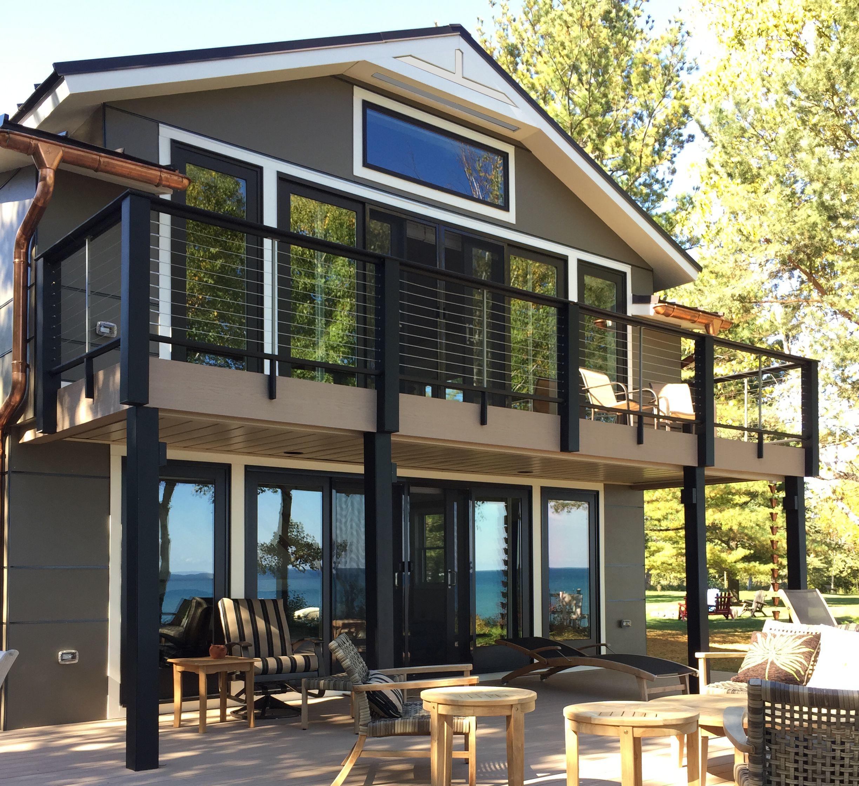 Huron Bluff Cabin Lake Front Renovation Summer HardiBoard Pella #livingcityarch