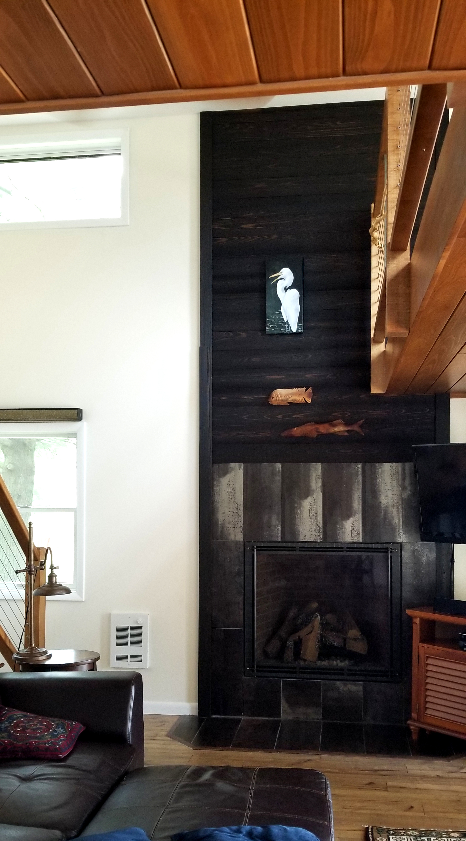 Lake Front Cabin Interior Renovation Shou Sugi Ban Fireplace #livingcityarch