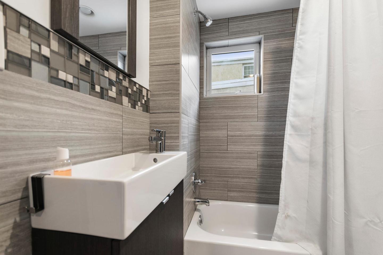 Modern Bathroom Renovation Narrow Sink Tile Design Philadelphia #livingcityarch