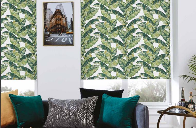 a green pattern roller blind