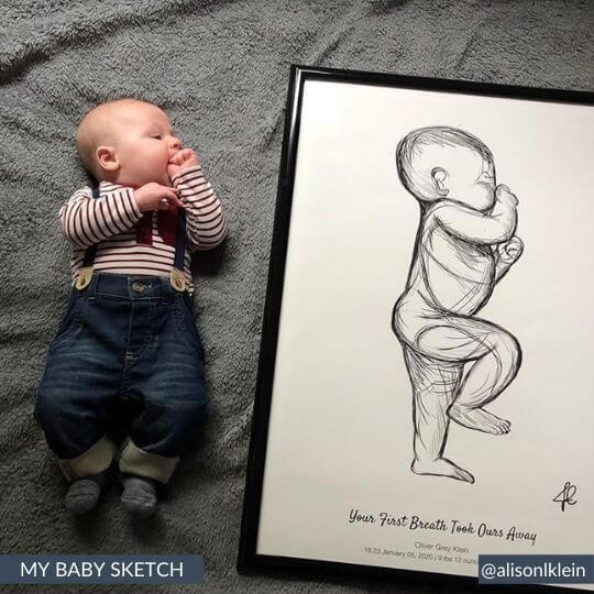 framed baby sketch