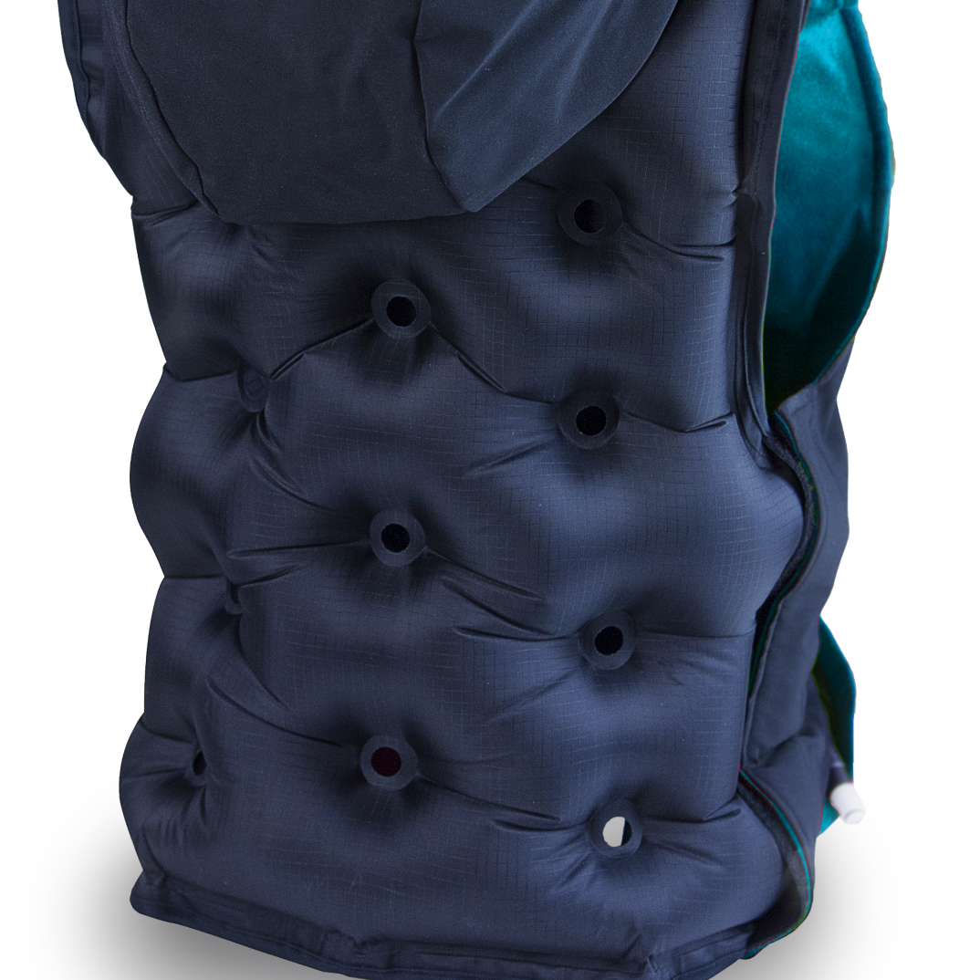 Back of inflated Snug Vest with hoodie