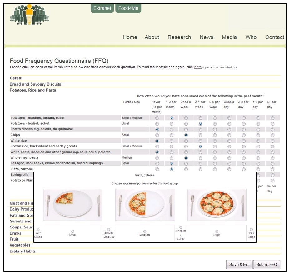 JMIR - Online Dietary Intake Estimation: The Food4Me Food Frequency  Questionnaire | Forster | Journal of Medical Internet Research