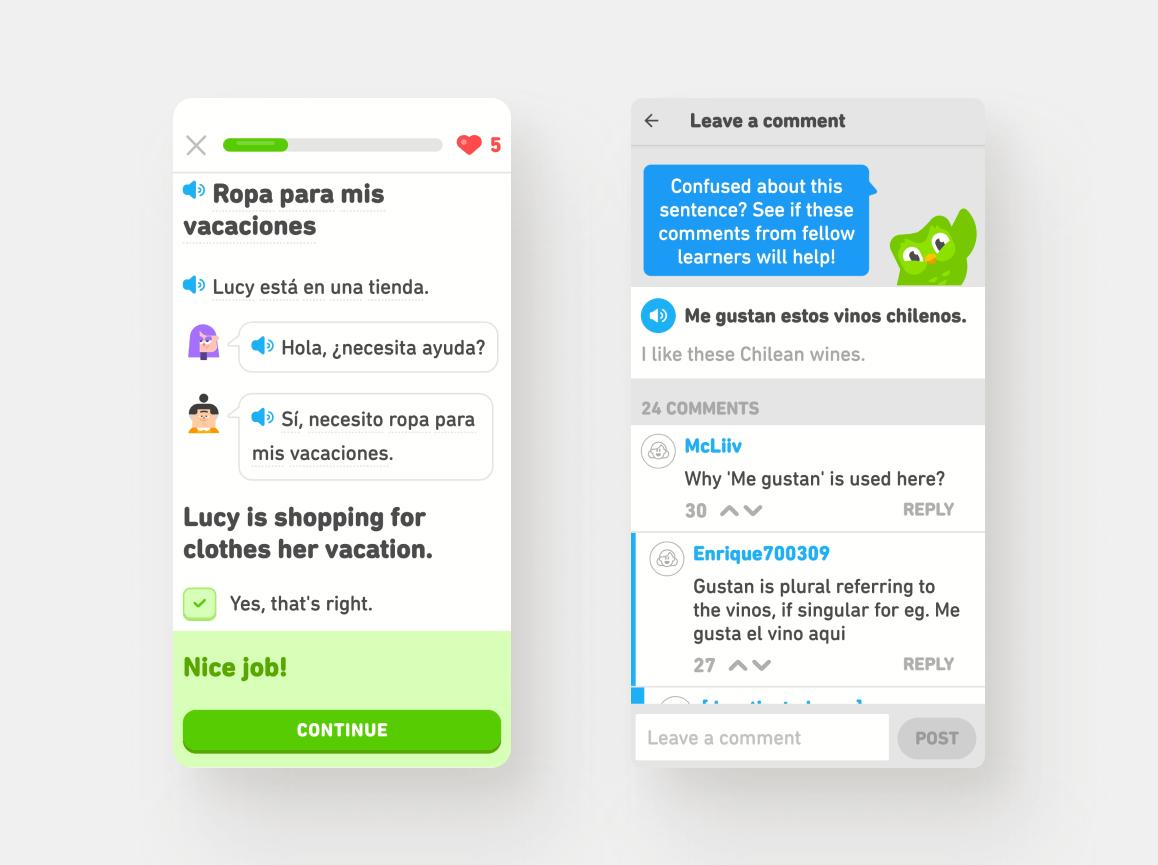 Reading Comprehension & Forum Community - Duolingo